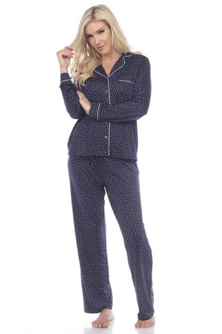 Long Sleeve Pajama Set (Navy)