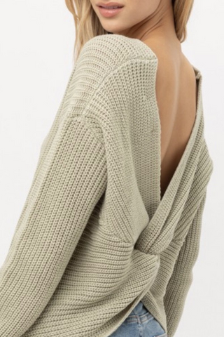 long sleeve v-neck sweater top moss