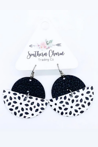 Monochrome Leather Earrings (Black/White)