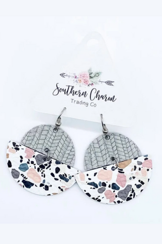 Mosaic Leather Earrings (Grey Palm/Blush)