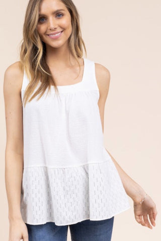 embroidered eyelet top white