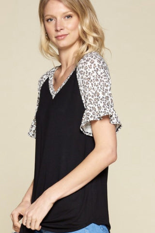 leopard ruffle sleeve v-neck top