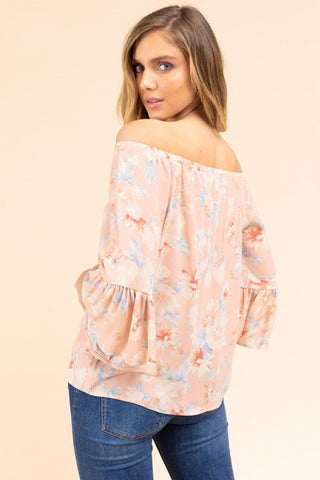 off shoulder pink floral top