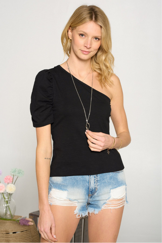 One Shoulder Puff Sleeve Top (Black)
