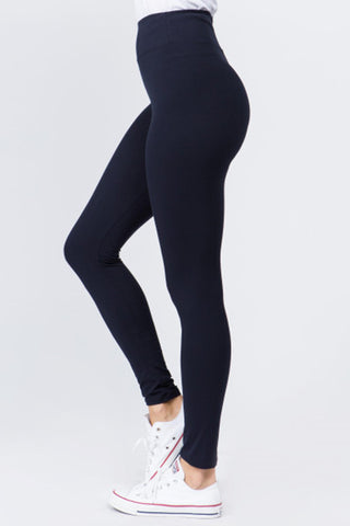 Peach Skin Leggings (Navy)