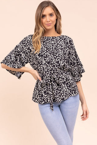 pebble print ruffle blouse black
