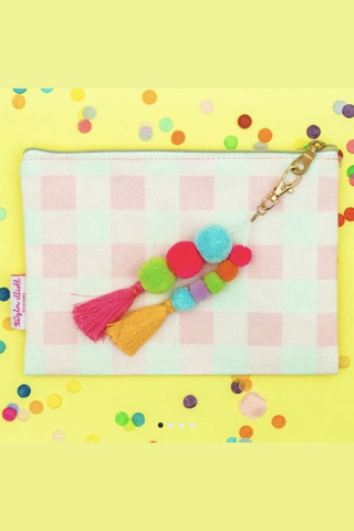 Pink Gingham Pouch with Pom & Tassel Keychain