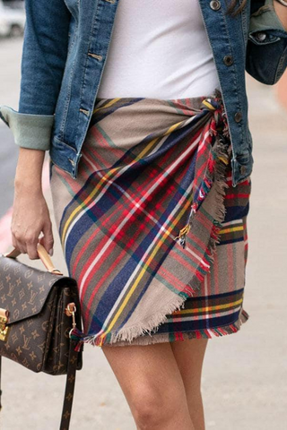 Plaid Wrap Skirt (Camel)