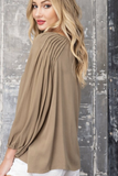 Pleated Long Sleeve Top (Olive)