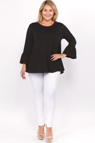 Plus Size, Bell Sleeve Tunic Top (Black)