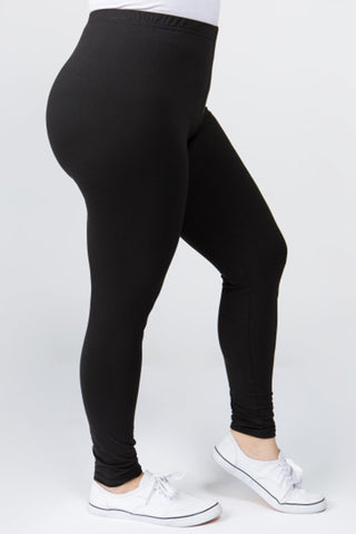 Plus Size, Peach Skin Leggings (Black)
