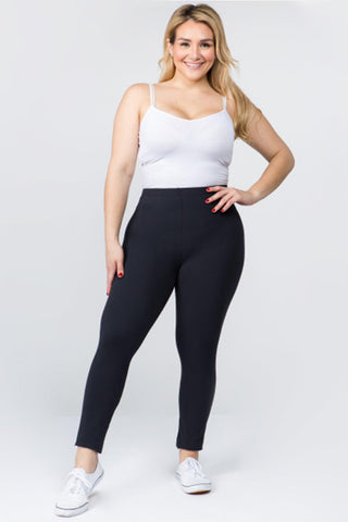 Plus Size, Peach Skin Leggings (Charcoal)