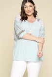 Plus Size, Crew Neck Floral Sleeve Top (Sage)