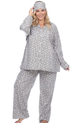 Plus Size, Three Piece Pajama Set (Grey)