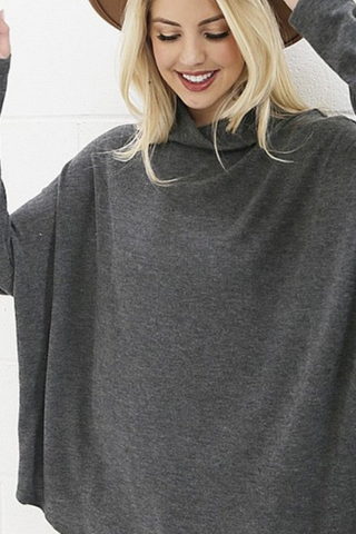 Super Soft Poncho Top (Grey)