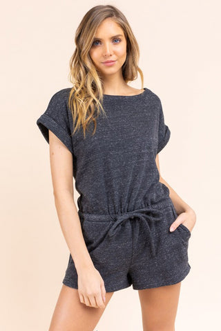 Roll Up Two-Tone Knit Romper (Charcoal)