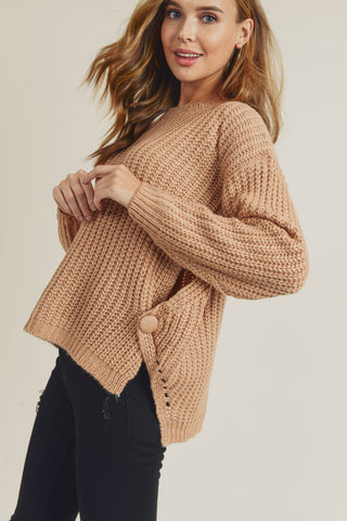 Round Neck Cable Knit Sweater (Red Bean)