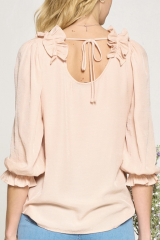 Ruffle Patch Blouse with Tie Back (Blush)