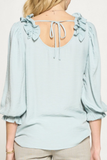 Ruffle Patch Blouse Tie Back Seafoam