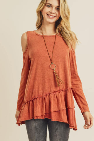 Ruffle Hem Cold Shoulder Top (Brick)