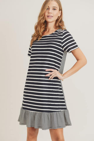 scallop knit stripe dress black
