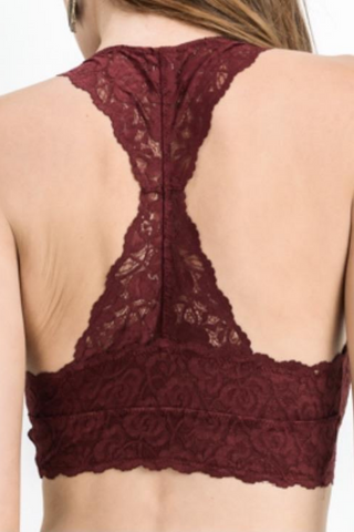 Scalloped Lace Padded Racerback Bra (Brick Red)