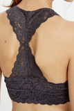 Scalloped Lace Padded Racerback Bralette (Midnight Grey)