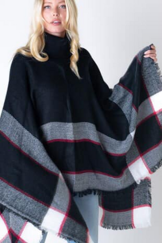 oversized black turtleneck poncho