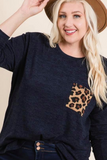 plus size animal print pocket top black