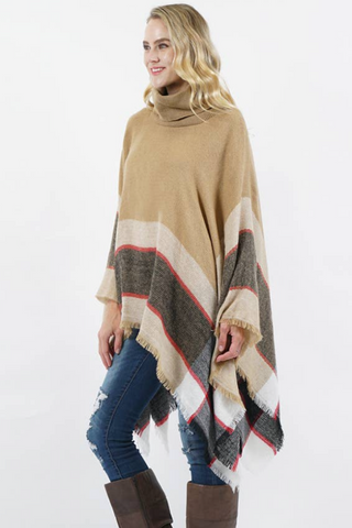 oversized beige turtleneck poncho