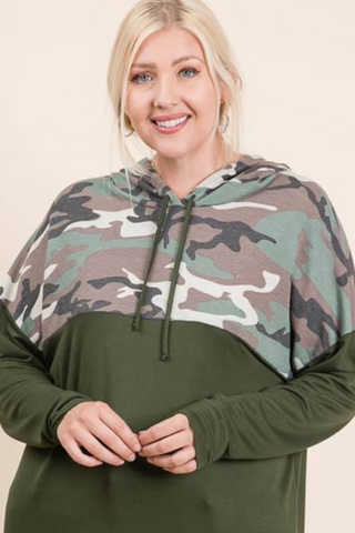 plus size camo hoodie top