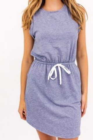 Sleeveless Drawstring Dress (Denim Blue)