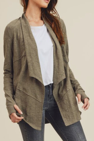 Slubbed and Draped Jersey Cardigan (Olive Green)