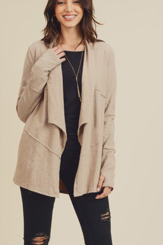 Slubbed and Draped Jersey Cardigan (Taupe)