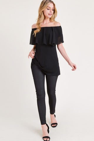 Off The Shoulder Ruffle Top (Black)