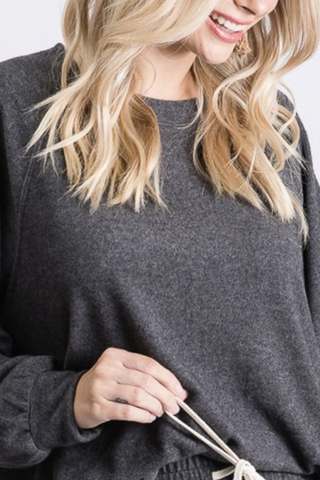 Solid Brushed Basic Long Sleeve Top (Charcoal)