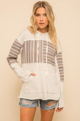 Stripe Contrast French Terry Hoodie (Oat Multi)