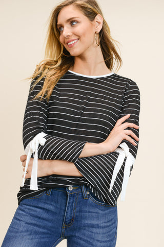 Stripe Mixed Knit Top with Tie Sleeves (Black)