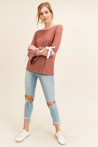 Stripe Mixed Knit Top with Tie Sleeves (Cinnamon)