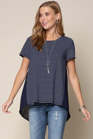 striped contrast top navy white