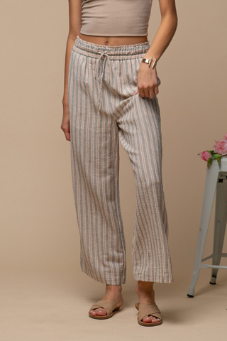 Striped Crop Pants (Natural/Grey)