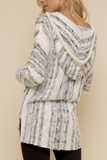 Striped Hoodie Slub Sweater (Ivory/Navy)
