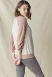 Striped Raglan Top With Button Sleeve (Mauve)