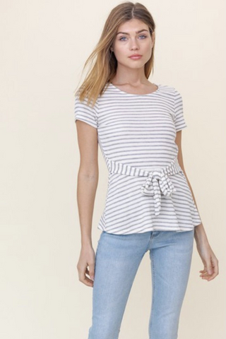 ivory and grey striped tie waist top
