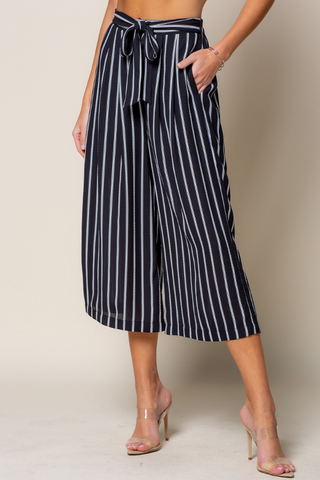 Striped Wide Leg Pants (Black/White)