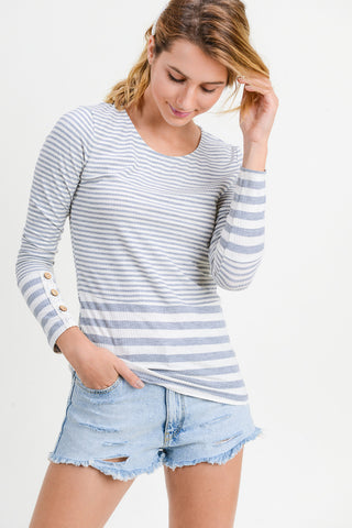 Striped Top with Crochet & Button Sleeves