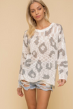 Animal Print Light Weight Pullover Sweater Top (Ivory/Charcoal)