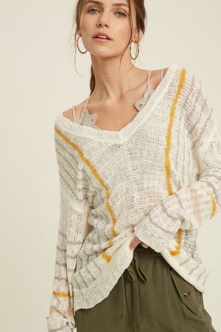 V-Neck Stripe Sweater Top (Grey/Yellow)
