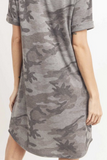 Camo Midi Dress With Round Neckline Short sleeve (Army Charcoal)