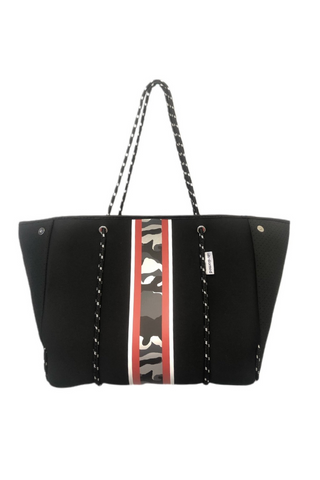 Neoprene Tote w/Stripes (Black/ Red Camo)